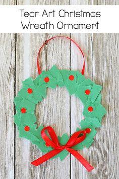 "Homemade Christmas Ornament for Kids: Tear Art Christmas Wreath- perfect for toddlers, preschool, and kindergarten! ~ <a href=""http://BuggyandBuddy.com"" rel=""nofollow"" target=""_blank"">BuggyandBuddy.com</a>"