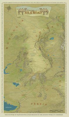 The Silk Road - Asian Map -  Illustrative Maps - Snodgrass Design
