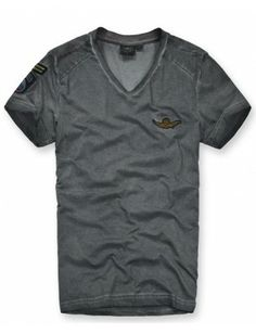 Camiseta Aero stone washed cuello V | gris