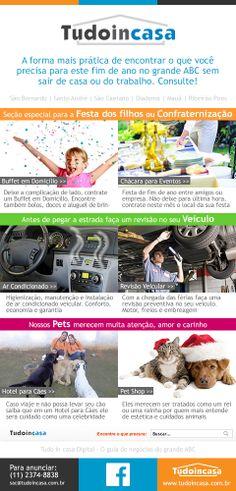 Campanha de e-mail marketing para usuários do guia de negócios da região do grande ABC Tudo in casa.
