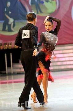Red black latin dance dress