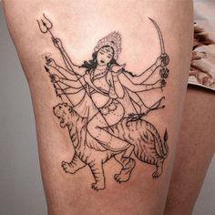 Thanks Chevonne! #handpoked #Durga on thigh