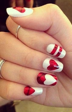 89 Most Fabulous Valentine's Day Nail Art Designs - What do you think of giving your hands a romantic look on Valentine's Day? The easiest way to get catchy hands and make them more gorgeous is to chang... -  valentines day nails (85) ~♥️~ ...SEE More :└▶️ └▶️ http://www.pouted.com/89-most-fabulous-valentines-day-nail-art-designs/