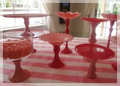 Made for pink parties with candlesticks and plates