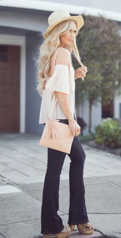 Peach Pleats, black trousers RORESS closet ideas #women fashion outfit #clothing style apparel