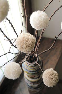 My pon-pon flowers!! idea natale per giara grande
