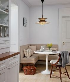 small furniture like banquette color and style, pendant light