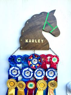 A personal favorite from my Etsy shop https://www.etsy.com/listing/278079276/deluxe-customized-horse-show-ribbon
