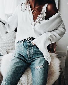 Button down blouse + lace bralette.