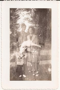 Double Exposure Vintage Photo, Vintage Photograph, Black and White Snapshot, Family of Four Photo, Woman Bending, Funny, Weird, Unusual by BettywasaBombshell on Etsy