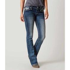Rock Revival Celinda Boot Stretch Jean - Blue 24/34 ($159) ❤ liked on Polyvore featuring jeans, blue, low rise stretch jeans, low rise bootcut jeans, low rise slim bootcut jeans, zip jeans and blue jeans
