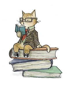 Dapper Cat Reading Card by PerilousPaper on Etsy I Love Cats, Crazy Cats, Cute Cats, I Love Books, Books To Read, My Books, Illustrations, Book Illustration, Frida Art