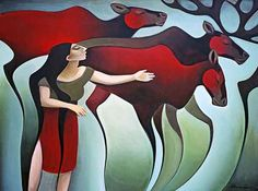 Fine art limited editions prints by Yukon painter Nathalie Parenteau. Nathalie is most know for her iconic paintings of northern animals, people and landscapes. Native American Artists, Canadian Artists, Claudia Tremblay, Native Canadian, Red Images, Indigenous Art, Naive Art, Beautiful Artwork, African Art