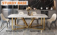 """Modern Rectangle 63"""" Faux Marble Dining Table Gold Base Stainless Steel - Dining Tables - Dining Room & Kitchen Furniture - Furniture Modern Dinning Table, Faux Marble Dining Table, Stainless Steel Dining Table, Dining Table Design, Dining Room Table, Kitchen Interior, Kitchen Design, Room Kitchen, Kitchen Furniture"""