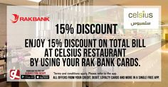 Enjoy 15% discount at Celsius Restaurant - Nassima Royal Hotel by using your @rakbank  Cards  Download GL Deals app now to get more access to such offers! http://www.gldeals.com/myapp  #CelsiusRestaurant  #App #MobileApp #AndroidApp #iOSApp #AppStore #PlayStore #Deals #Discounts #Offers #Cards #UAE #Like #Share #GLDeals #UAEDeals #DubaiDeals #DubaiOffers #FreeApp