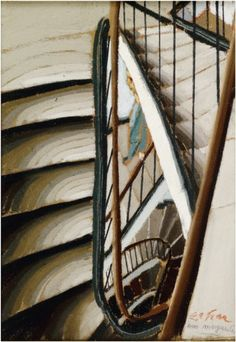 Harsh yet clear strokes with minimal blending demonstrate a gradual tonal contrast which loses clarity as the staircase spirals