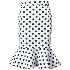 Choies White Polka Dot Midi Pencil Skirt With Flounce Hem ($26) ❤ liked on Polyvore featuring skirts, white, pencil skirt, white pencil skirt, white polka dot skirt, midi pencil skirt and calf length skirts
