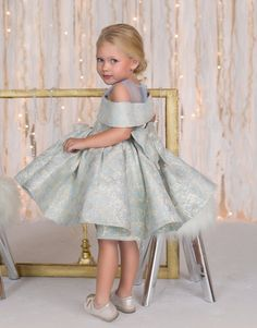 Clarissa Dress (Silver Blue) - Itty Bitty Toes  - 3