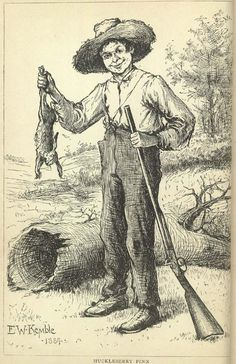 Illustration of Huckleberry Finn by E.W. Kemble from the original 1884 edition