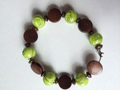Lime green and a beautiful wood beaded bracelet on Etsy, $8.00