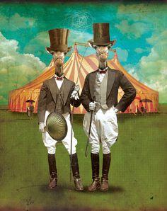 Circus-Circus: The Twins :: © David Vogin Illustration