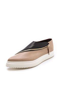 3d330497184 Jil Sander Two Toned Zipper Flats Short Heels