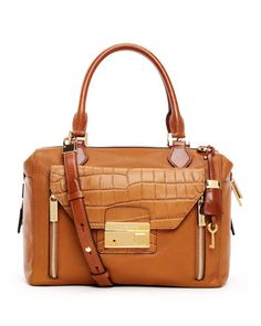 Gia Crocodile-Embossed-Flap Top-Zip Satchel Bag by Michael Kors at Neiman Marcus.