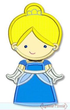 Embroidery Designs - Cutie Princess as Cinderella Applique 4x4 5x7 6x10 - Welcome to Lynnie Pinnie.com! Instant download and free applique machine embroidery designs in PES, HUS, JEF, DST, EXP, VIP, XXX AND ART formats.