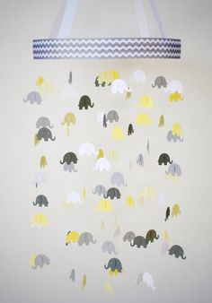 Elephant Mobile - Baby Crib Mobile in Yellow, White and Gray - Baby Mobile, Nursery Mobile, Baby Shower Gift, Nursery Decor
