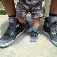 Gray and Green Jordans