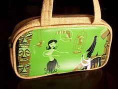 PAUL FRANK LIMITED EDITION SHAG PURSE 298 OF 300 TIKI HUT GREEN STRAW LOOK RARE in Clothing, Shoes & Accessories | eBay