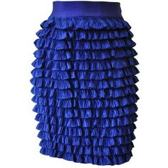 Preowned Gianni Versace Couture Ruffle Tier Pencil Skirt ($1,700) ❤ liked on Polyvore featuring skirts, purple, blue silk skirt, purple pencil skirt, silk skirt, versace skirt and layered ruffle skirt