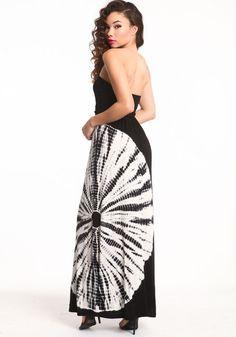 Tie dye maxi tube dress