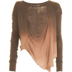 Cotton scoopneck long sleeve tee in two-tone dye with shredded front and asymmetric hem. Available in Brown/Camel. Made in U.S. Hand wash.