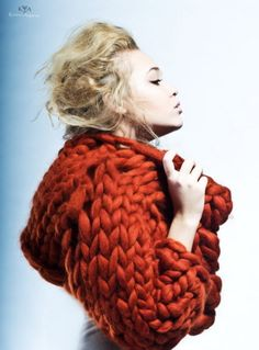 Chunky, oversized knitted jumper with cowl neck in a stunning rusty orange.