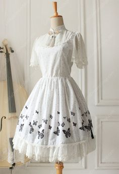Lolita Cotton Vintage Chinese Butterfly Flounced Stand Collar OP Dress $84.9