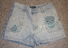 Xhilaration Brand Hand Painted Ladies Denim Shorts Recycled Upcycled Wearable Art Size 11 by radwrapz, $20.00