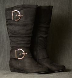 Black Slouchy Buckle Boots