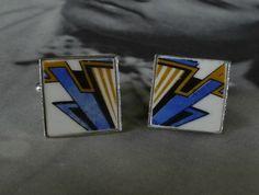 Art Deco Style Cufflinks (C44) Broken China Jewelry, Art Deco Fashion, Ann, Cufflinks, Jewellery, Accessories, Style, Swag, Jewels