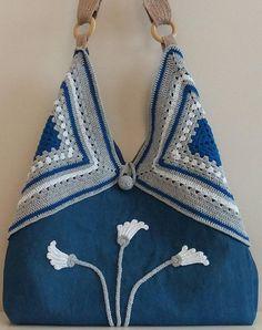 Jean and crochet bag, tote bag, hobo bag, for summer, elegant and unique, shoulder bag, SEVİLDENStore