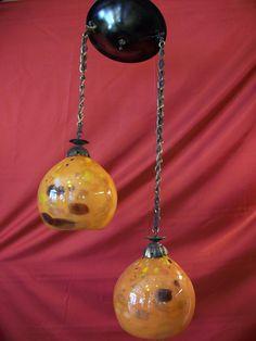 Hanging lamp with blown glass Blown Glass, Christmas Bulbs, Lamps, Bronze, Lights, Future, Holiday Decor, Handmade, Design