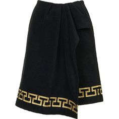 **Grecian Towelling Wrap Skirt by ASHISH X Topshop (€14) ❤ liked on Polyvore featuring skirts, bottoms, topshop, black, wrap skirt, black wrap skirt, embroidered skirt and topshop skirts