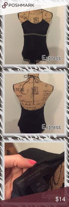 Express blouse Express halter tie up black blouse size M. Great date night top. Zipper back and tie around the neck. Express Tops Blouses