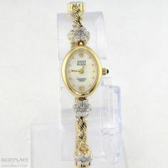 ANNE KLEIN DIAMOND SWISS LADIES WATCH 6 DIAMONDS IN GOLD TONE FLOWERS BAND  SuzePlace.com