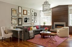 Modern Mix:  Note acrylic desk space as side table - Interesting -Contemporary Family Room by Miller Design Co.