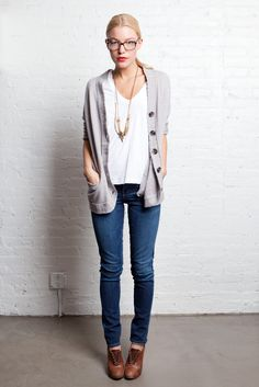 Boyfriend Cardigan with skinny jeans. and oxfords. and glasses. and a long necklace.