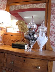 Feathers in Apothecary jars.