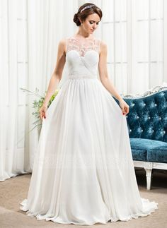 A-Line/Princess Scoop Neck Sweep Train Chiffon Tulle Wedding Dress With Ruffle Beading Sequins (002057490) - JJsHouse