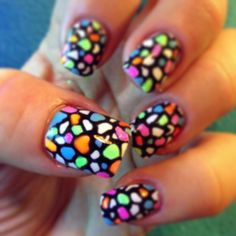 Neon Shellac nail art, over acrylic extensions...love them