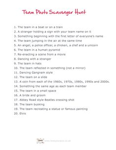 Teen Scavenger Hunt Ideas